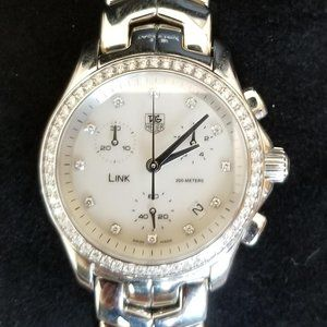 Tag Heuer Link Chronograph Watch with Diamonds!